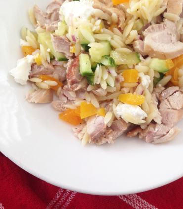 Lemon Orzo-Veggie Salad with Chicken